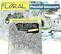 3 New Adult Coloring Books lot #137 ~ Mandalas volume 3 ~ Peaceful ~ Floral 2