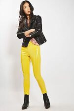 RARE TOPSHOP 26 X 30 JAMIE MOTO YELLOW VINYL PVC PLASTIC JEANS TROUSERS SOLD OUT