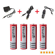 4PCS 3800mAh 3.7V 18650 Li-ion Battery+AC&Car&USB Charger for Headlamp Light