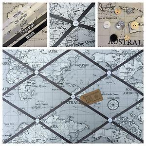 Custom Hand Made Fryetts Atlas Grey Fabric Pin/Memo/Notice Board Cork SMl LG XL