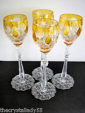"4 Faberge Czar Imperial Amber Gold Cased Cut To Clear 10 5/8 "" Wine Goblets"