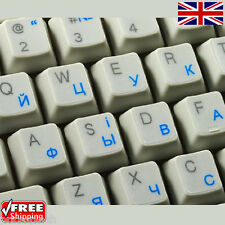 Ukrainian Russian Transparent Keyboard Stickers With Blue Letters for Laptop PC