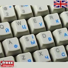 UCRAINO RUSSO TRASPARENTI TASTIERA ADESIVI con lettere Blu per PC Laptop