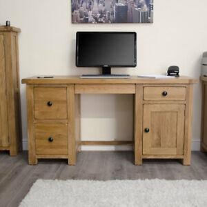 Original Rustic Solid Oak Furniture Twin Pedestal Computer Home Office Desk