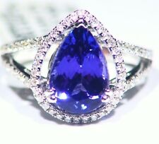 4.00ct 14k ORO Tanzanita Natural Diamante Vintage AAA Anillo Compromiso Boda