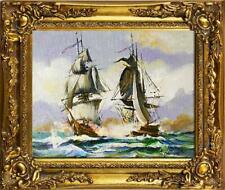 Gemälde Ölbild Bild Ölbilder Rahmen Bilder Seefahrt Schiffe Meer Ölgemälde 05687