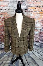 LRL Ralph Lauren Taupe Plaid 2 EQUESTRIAN HORSE Button WOOL Jacket Coat Sz 10