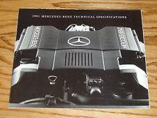 Original 1991 Mercedes Benz Technical Specifications Foldout Sales Brochure 91