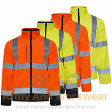 Hi Vis Viz Visibility Soft Shell Work Jacket Coat Waterproof  Windproof Mens