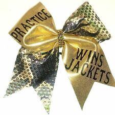 Practice Wins Jackets Gold Bling Camo Cheer Hair Bow