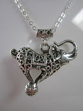 1 antique silver vintage  elephant charm Necklace  21 inch chain jewellery