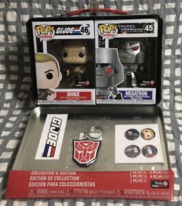 Funko POP! Transformers vs GI Joe Mystery Tin Lunch Box Duke Megatron Lot New G1