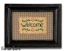 Stickbild mit Rahmen Welcome 20 x 26 NEU Clayre & Eef Vintage  Shabby
