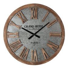 Hometime Large MDF & Grey Metal Round Wall Clock