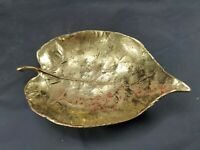 Virginia Metalcrafters Brass Linden Leaf Dish 1951 Vintage