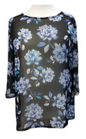 New Floral Tunic Top Sheer Black/Blue Flowers UK Plus Size 18/20 TO 34/36