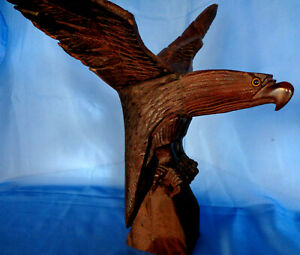 """American Eagle Vintage Beautiful Quality Hand Carved Iron Wood Standing 16.3/4"""""""