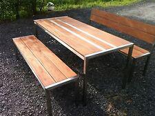 Design Edelstahl-Gartenmöbel Tisch + 2 Bänke Tisch