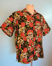 """Skulls & Roses"" Black, SOMETHING FISHY Handmade  Shirt, 2XL, Hawaiian, Tropical"