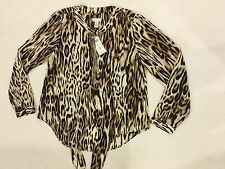 5c5287d390dec Chicos 0 Animal Tie Top Blanca Neutral Shirt Blouse Size Chico s 0 Womens 4