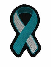 TEAL AND WHITE RIBBON FOR CERVICAL CANCER AWARENESS PATCH