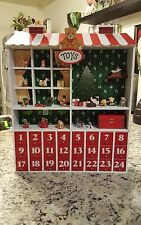 """14.75"""" Red and White Wooden House Advent Calendar Christmas Table Top Decoration"""