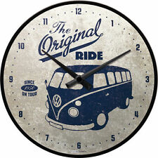 Retro Wall Clock THE ORIGINAL RIDE VW KOMBI 30cm Metal & Glass Licensed Product