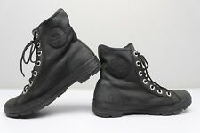 Converse Chuck Taylor All Stars 7.5 Leather High Tops Sneakers All Black Chrome