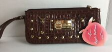 Apple Bottoms Brown Clutch Purse Wallet Alligator look NEW Tags Nelly #19M