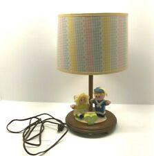 Vintage Judi's Originals Wood Lamp Music Box 1983 Nursery Rhymes Matching Shade