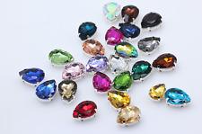 50pcs Sew On 7x10mm teardrop rhinestone cut glass cabochons crystal point back