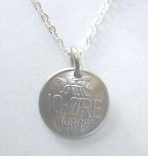 "Dainty Norway vintage bee coin necklace-nicely domed-18"" chain"
