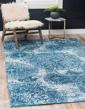 Throw Rug Blue White Vintage Retro Living Room Bedroom Accent Area Floor Mat 5x8