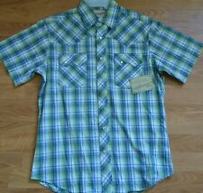 NWT Wrangler Plaid Short Sleeve Pearl Snap Cowboy Western Shirt 3XL
