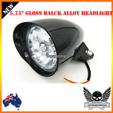 "5 3/4"" gloss black billet alloy bullet headlight Harley Sportster Chopper Bobber"