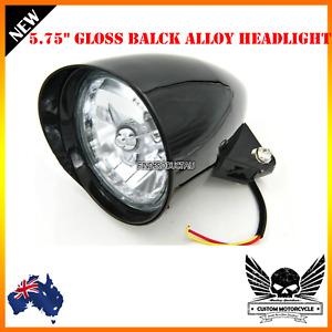 """5 3/4"""" gloss black billet alloy bullet headlight Harley Sportster Chopper Bobber"""