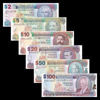 Barbados set 6 PCS, 2 5 10 20 50 100 Dollars, 2007, P-66-71. UNC