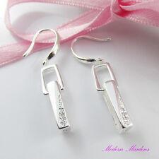 925 Stamped SP Cubic Zirconia Drop Dangle Rectangle Hook Earrings