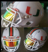 MIAMI HURRICANES  FS Speed Football Helmet Decals Set.