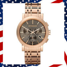 New Authentic Swiss Made Burberry Watch Mens Chronograph Rose Gold-Tone BU1862