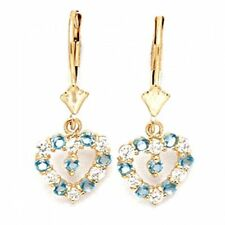 Women/Children Unique 14K YG Aquamarine March Birthstone Heart Shape Earrings