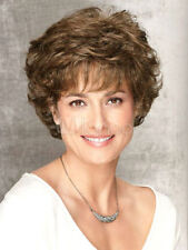 Natural Lady Short Light Brown Curly Hair Synthetic Daily Costume Party Full Wig