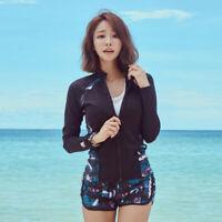 Long Sleeve Rash Guard Surf Shirts Swim Top Swimwear + Board Shorts 3PC Swimsuit