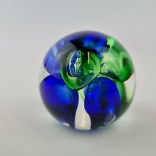 More details for vintage langham art glass paperweight blue & green