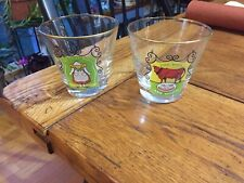 LOT OF 2 RARE VINTAGE FUNNY BAR COCKTAIL DRINKING GLASSES...RETRO....