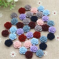 50PCS Mix Colors 13mm Cute Vintage Resin Rose Flowers Flatback Cabochon DIY New