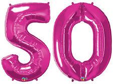 "50th BIRTHDAY BALLOON 34"" HIGH MAGENTA QUALATEX FOIL NUMBER 50 BALLOONS"