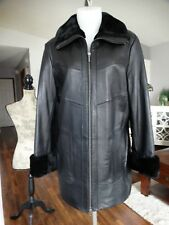 DANIER LEATHER Coat with Faux Fur Collar & Cuffs Medium
