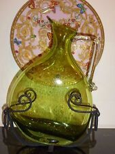 "VINTAGE BLENKO GLASS LARGE GREEN TILTED PITCHER IN METAL STAND 12.5"" HIGH"