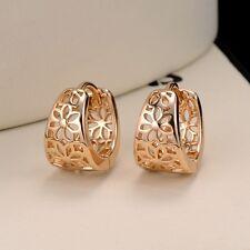 Hollow Women's Earrings 18k Yellow Gold Filled Charm Flower Hoop Fashion Jewelry